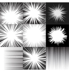 Comic book speed horizontal lines background set vector image