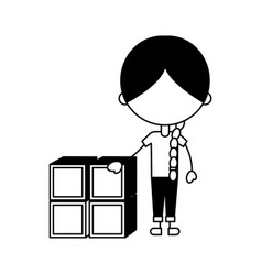 Cute girl with blocks character icon vector