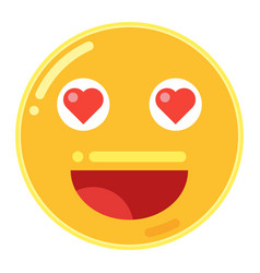 Emoji of smiley face with love heart in flat vector