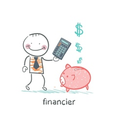 Financier with a calculator and piglets piggy bank vector