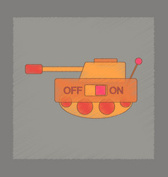 Flat shading style icon kids tank vector