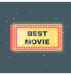 Flat style of best movie shining retro light vector