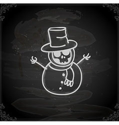 Hand drawn skeleton disguised as a snowman vector