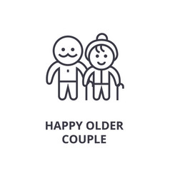 happy older couple line icon outline sign linear vector image