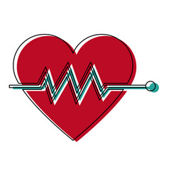 Heartbeat cardiac monitoring pulse flat icon for vector