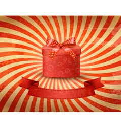 Holiday background with red gift ribbon with gift vector image vector image