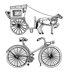 Horse-drawn carriage or coach and bicycle bike or vector