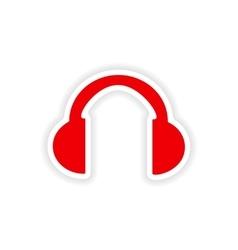 Icon sticker realistic design on paper headphones vector
