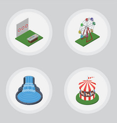 Isometric street set of recreation carousel vector