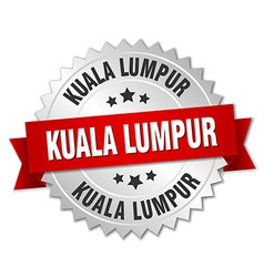 Kuala lumpur round silver badge with red ribbon vector