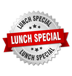 lunch special round isolated silver badge vector image vector image