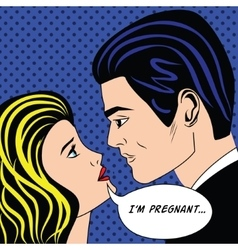 Man and pregnancy woman in vintage popart comic vector