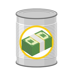 Money in a Tin Canned cash Dollars for hereafter vector image vector image