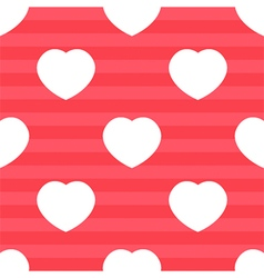 Pink stripes and white hearts seamless pattern vector image