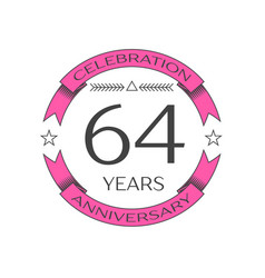 Realistic sixty four years anniversary celebration vector