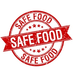 Safe food grunge retro red isolated ribbon stamp vector