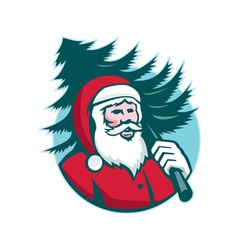 Santa claus carrying christmas tree retro vector