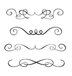 set hand drawn flourish calligraphy elements vector image
