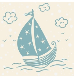 ship beautiful silhouette vector image
