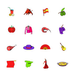 Spain icons set cartoon vector