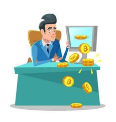 Successful businessman mining bitcoin on computer vector