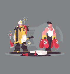 Team firefighters characters vector