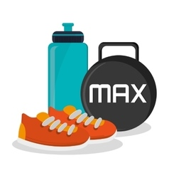 Weight shoes bottle and fitness design vector