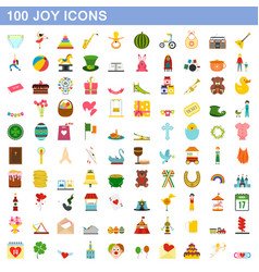 100 joy icons set flat style vector