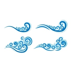 Curly blue waves vector