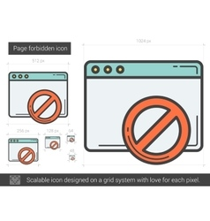 Page forbidden line icon vector