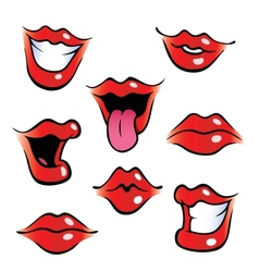 Cartoon female mouths with glossy lips vector
