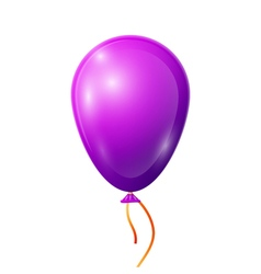 Realistic purple balloon with ribbon isolated on vector
