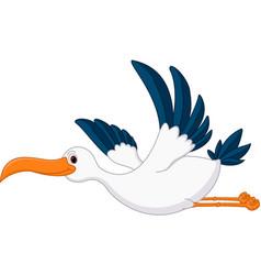 Happy flying stork cartoon vector