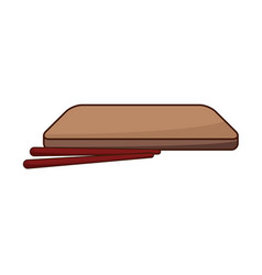 japanese wooden plate and sticks for food vector image