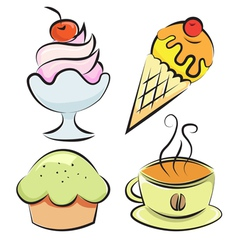 Set desserts and coffee vector