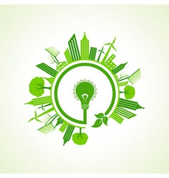 Ecology concept with eco bulb vector