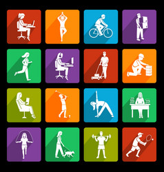 Physical activity icons flat vector