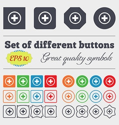 Plus positive zoom icon sign big set of colorful vector