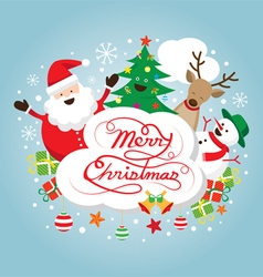 Santa claus snowman reindeer and tree characters vector