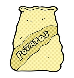 Comic cartoon sack of potatos vector