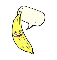 Cartoon happy banana with speech bubble vector