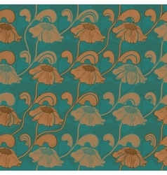 Retro brown flowers on stems seamless pattern vector