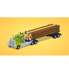Low poly log truck vector