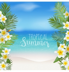 Tropical background palm leaves sea view vector