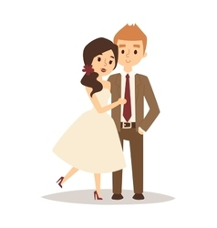 Happy bride and groom on wedding romance love vector