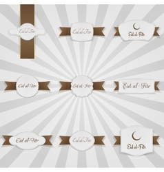 Eid al-fitr realistic greeting banners set vector