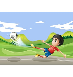 A player playing soccer at the street vector image vector image