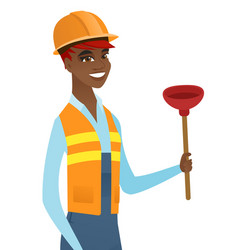 African-american plumber holding plunger vector