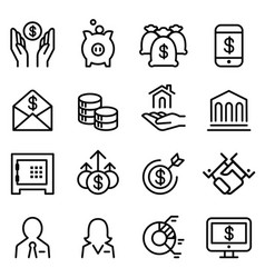 Bank financial icon set in thin line style vector
