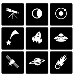 black space icon set vector image
